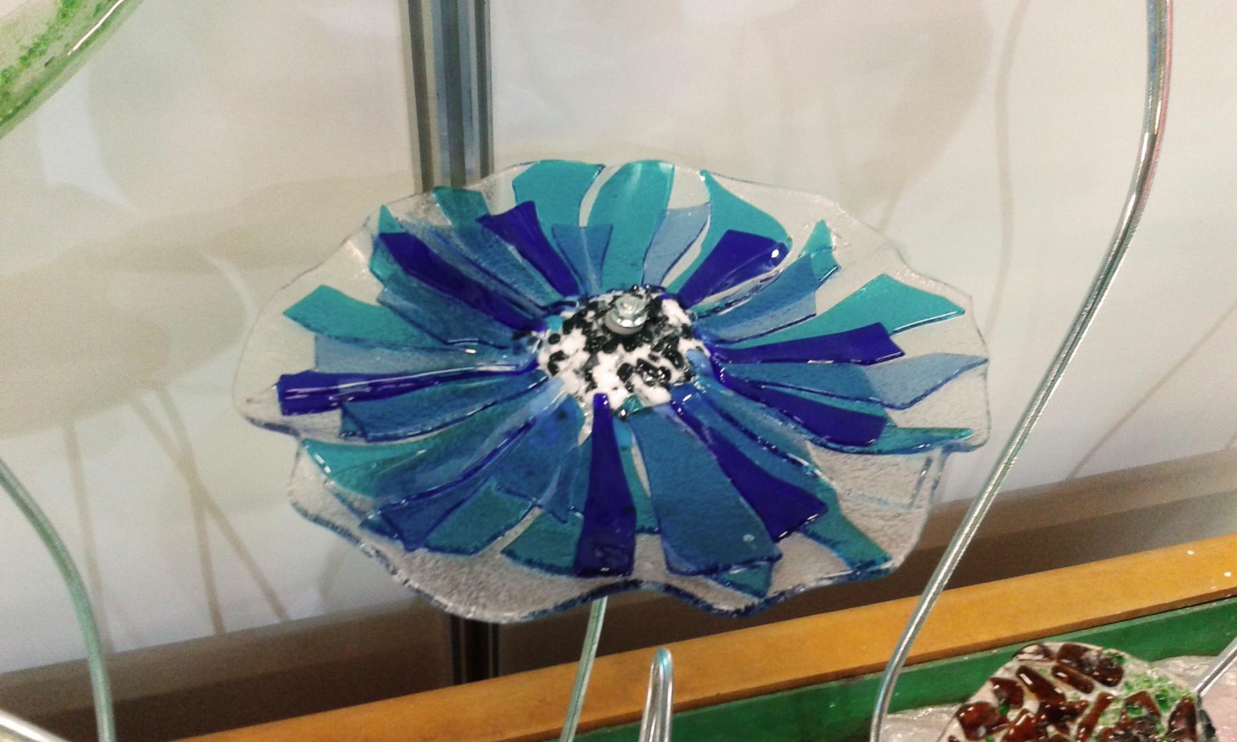 Füzyon Cam Mavi Çiçek
