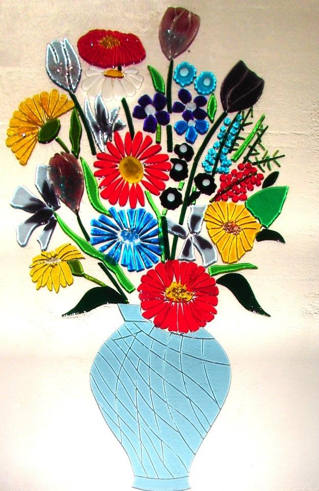 Renkli Cam Füzyon Çiçek