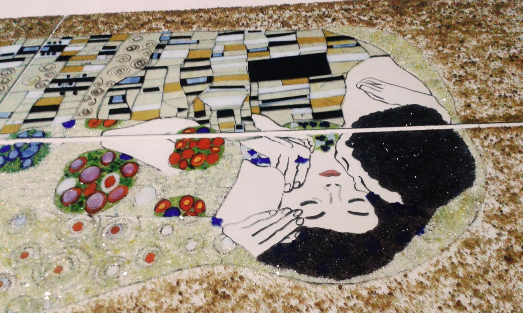 Renkli Cam Füzyon Pano (Gustav Klimt)