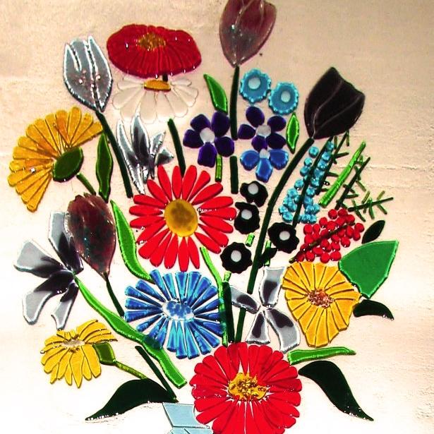 Renkli Füzyon Cam Çiçekler